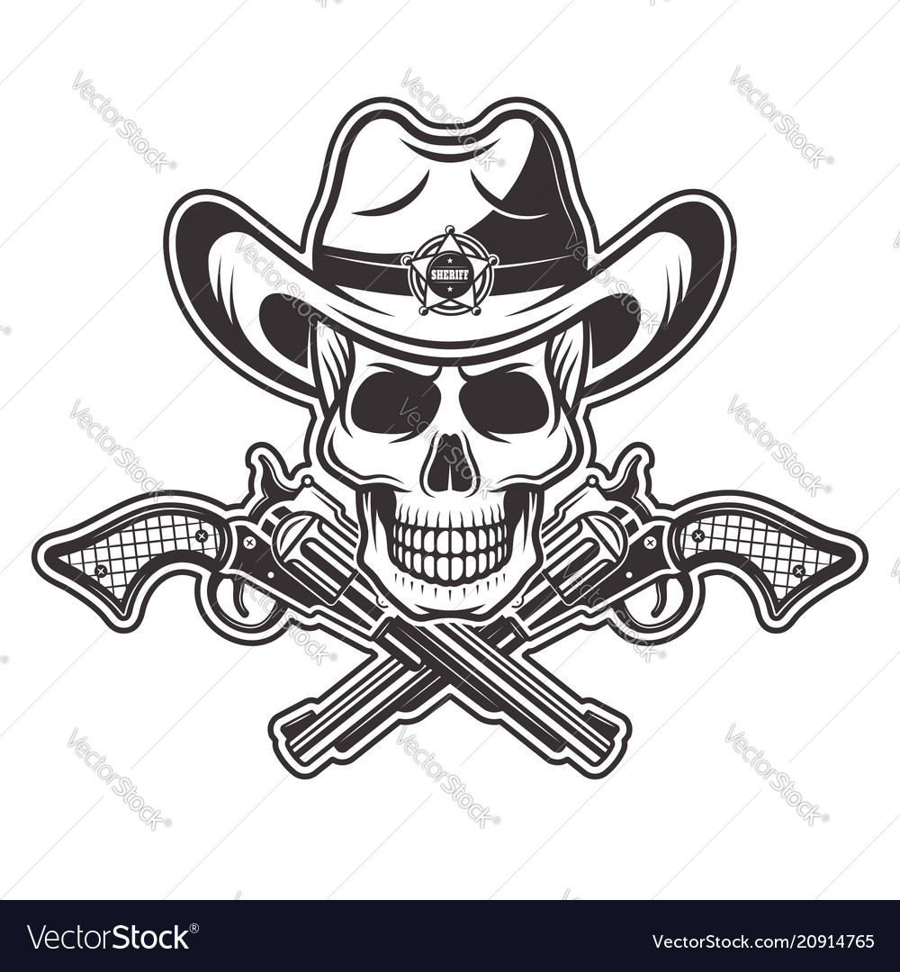 Sheriff skull in cowboy hat with two crossed guns Vector Image a861ebdcb93a