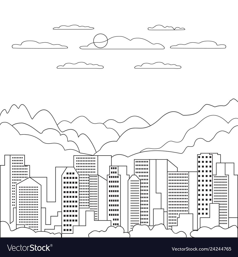 Thin line city landscape flat panorama design