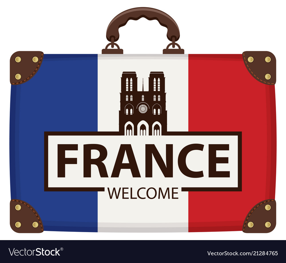 Travel suitcase with french flag and notre dame
