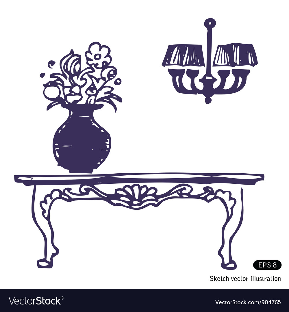 Vintage table vase with flowers and chandelier vector image