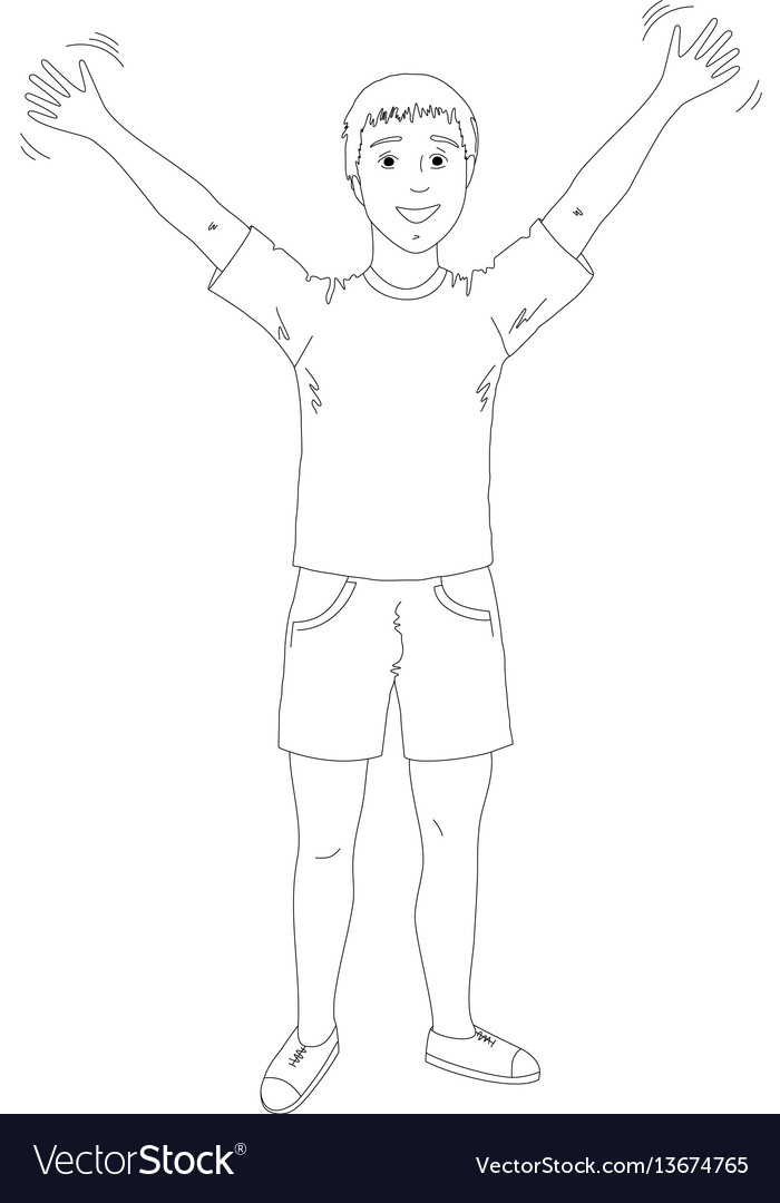 Young man in shorts and a sports shirt