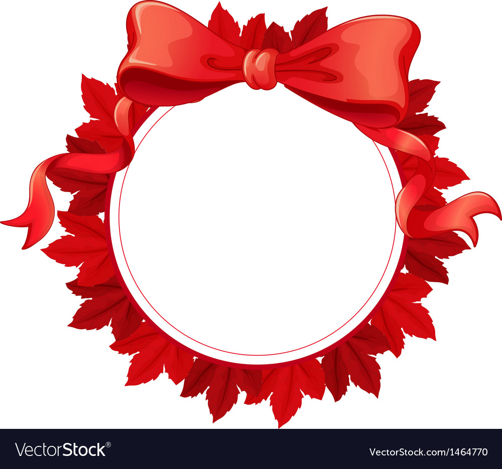 A Round Template With Red Ribbon Vector Image