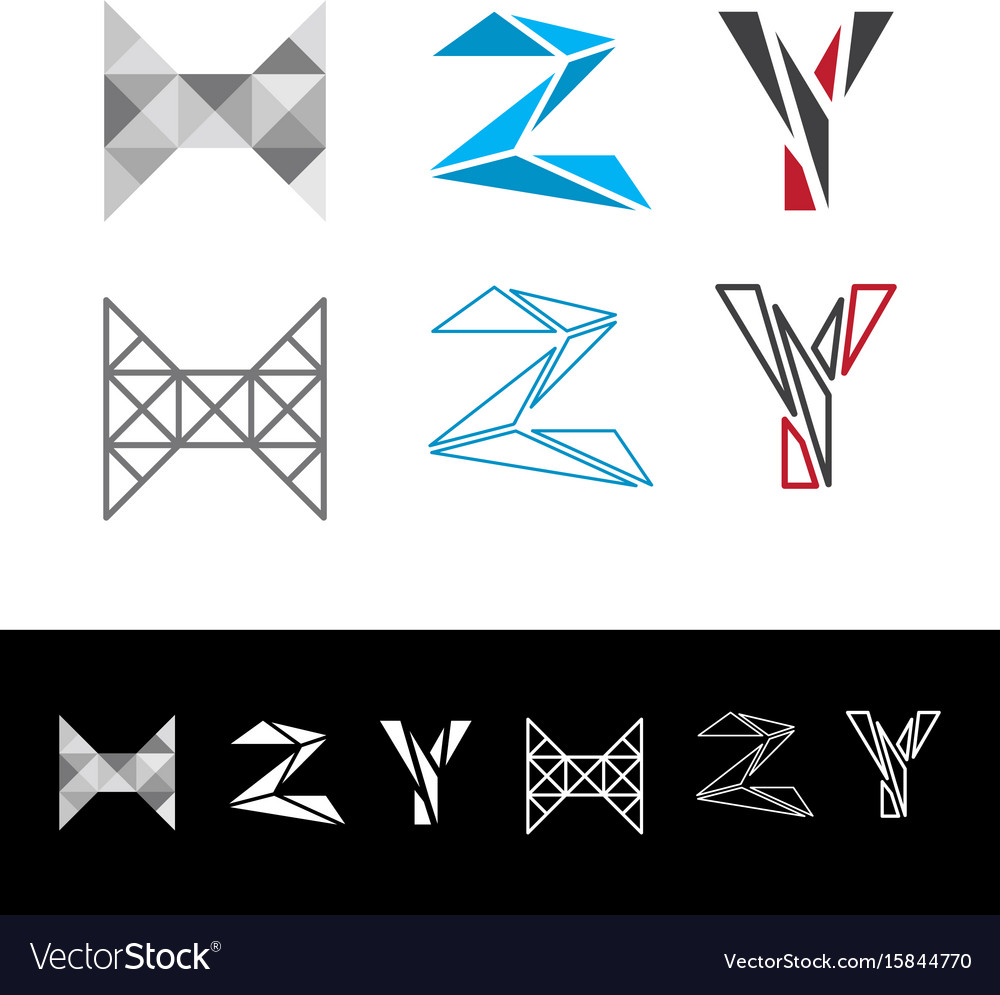 Abstract letter h z y logotype