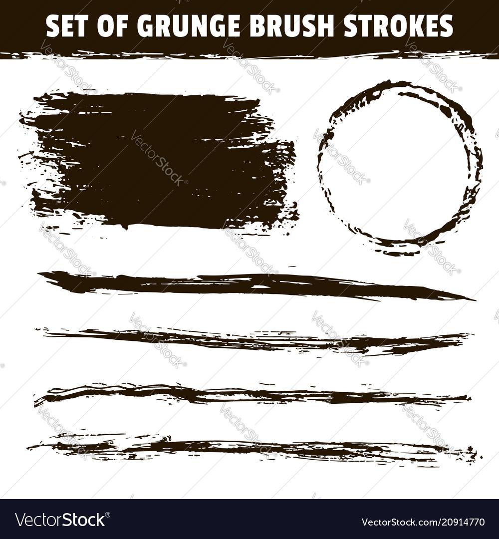 Artistic grunge hand drawn black brush strokes