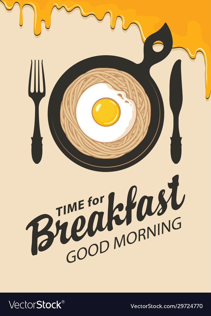 Breakfast banner with pasta fried egg and cutlery