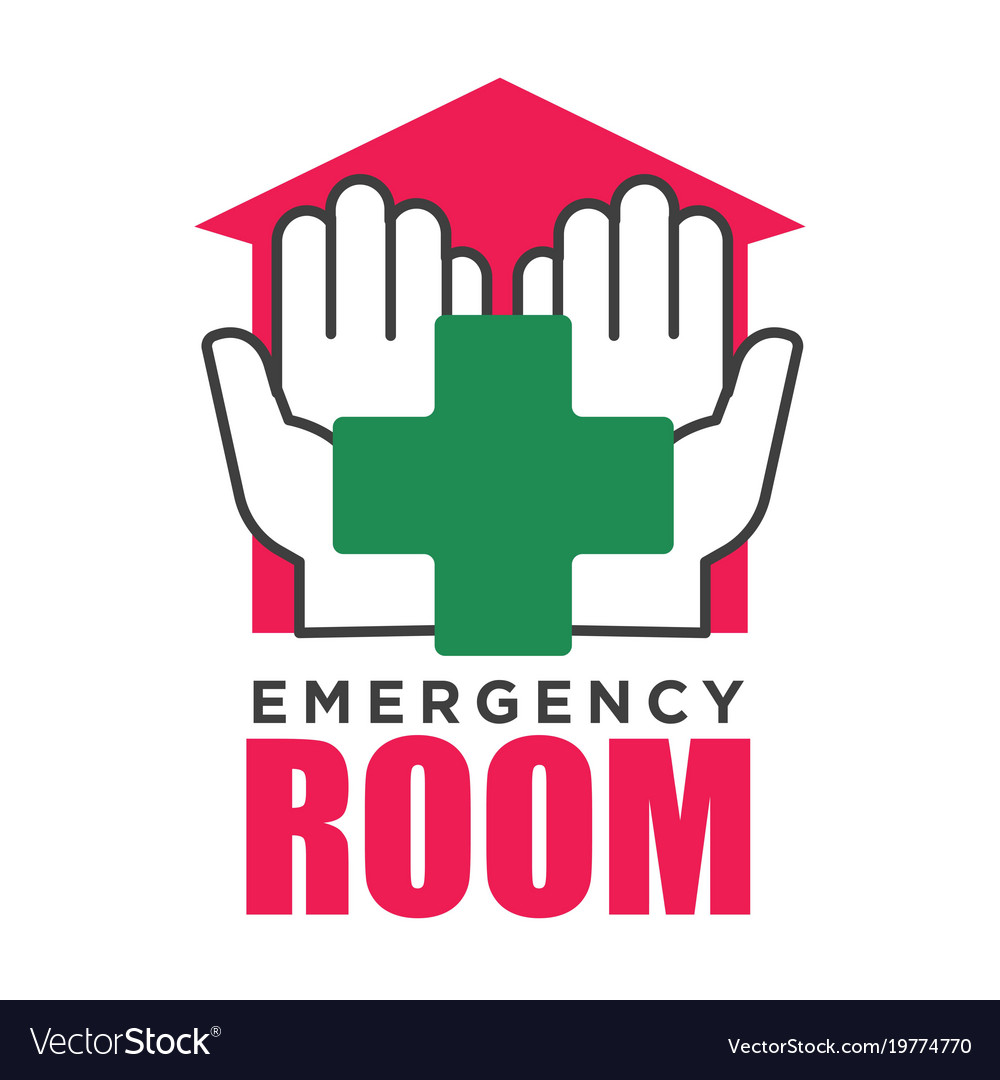 Emergency room corss and hands hospital vector image