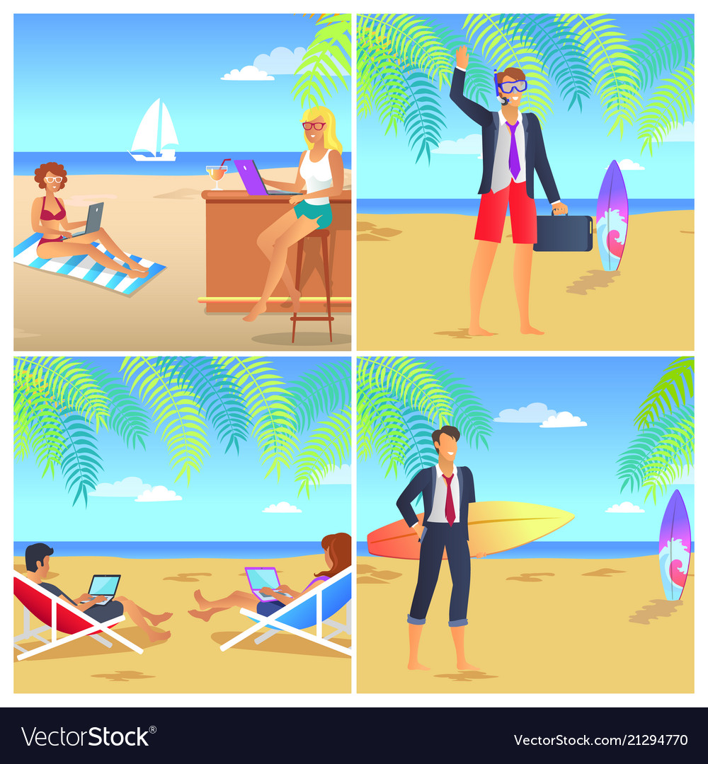 Four colorful posters with businessmans on beach