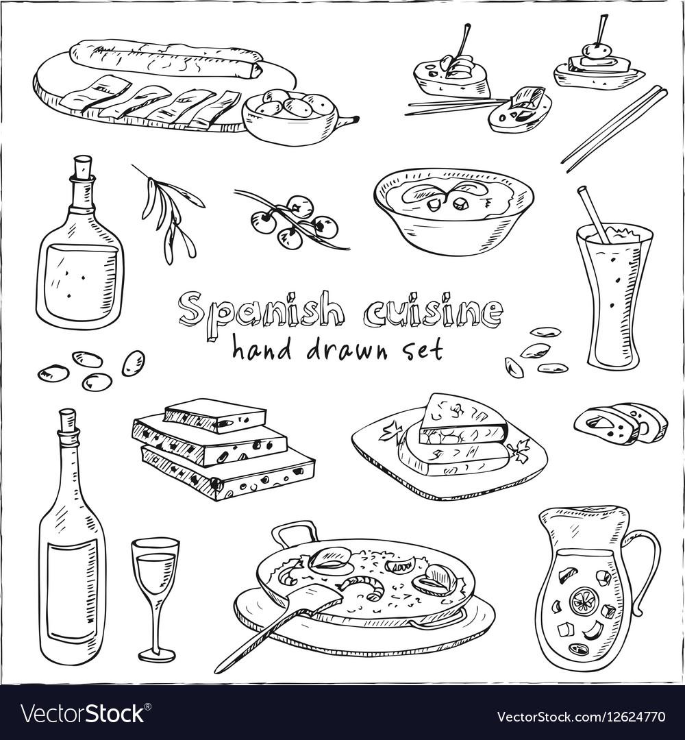 Hand drawn set of spanish cuisine soup
