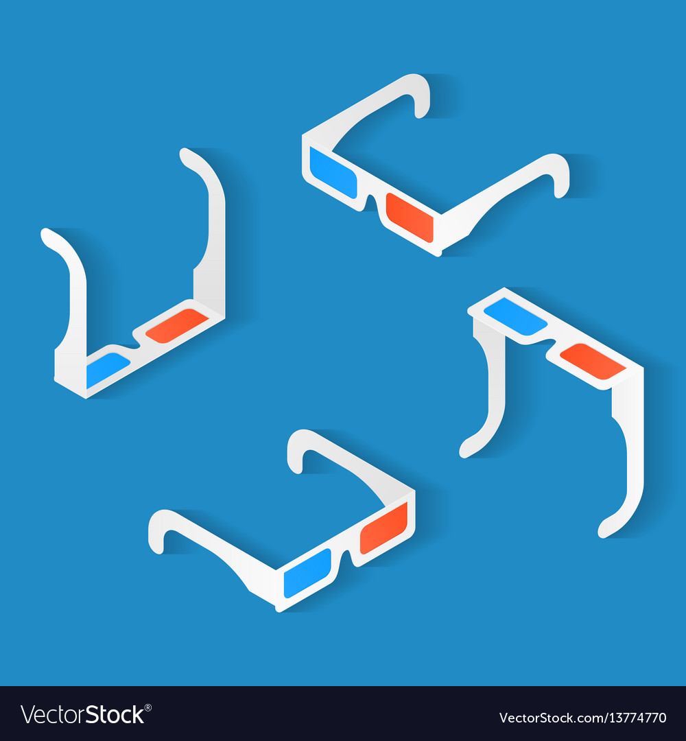 Isometric icon set of anaglyph 3d glasses