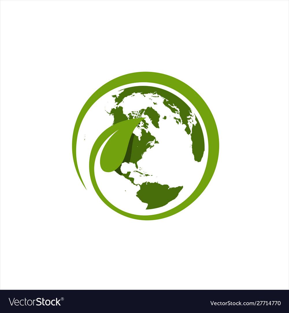 Leaf around world logo template
