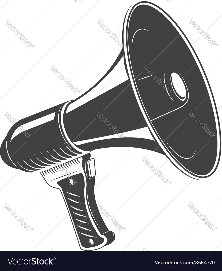 Megaphone monochrome icon isolated on white vector image