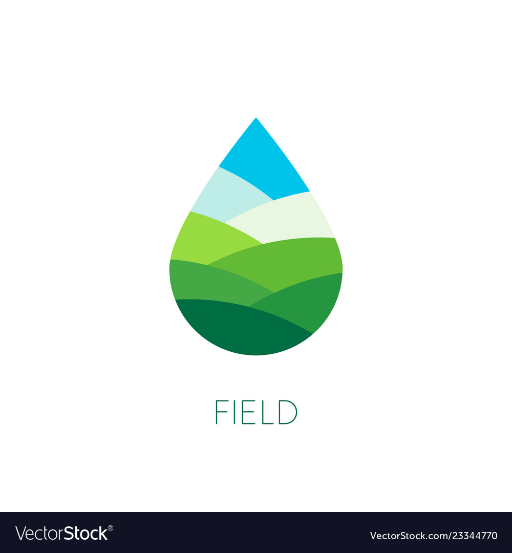Nature water sign organic food and drink label