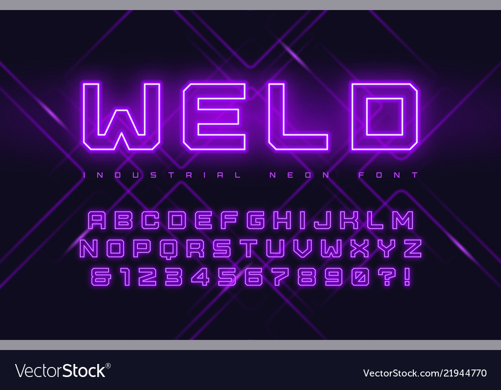 Neon industrial style display typeface