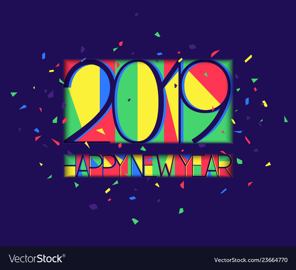 New year 2019 colorful background paper style