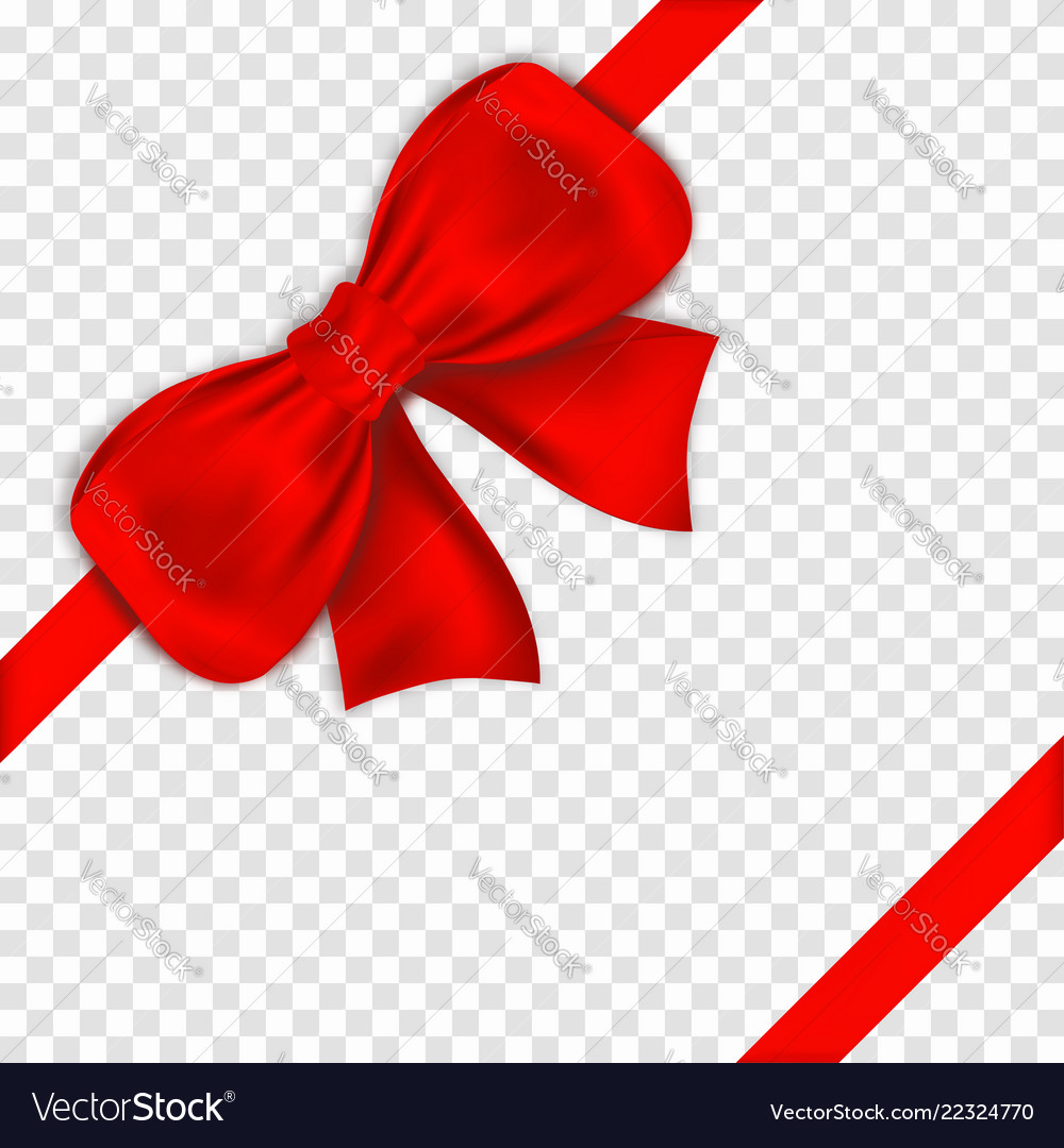 Red bow with ribbons on transparent background