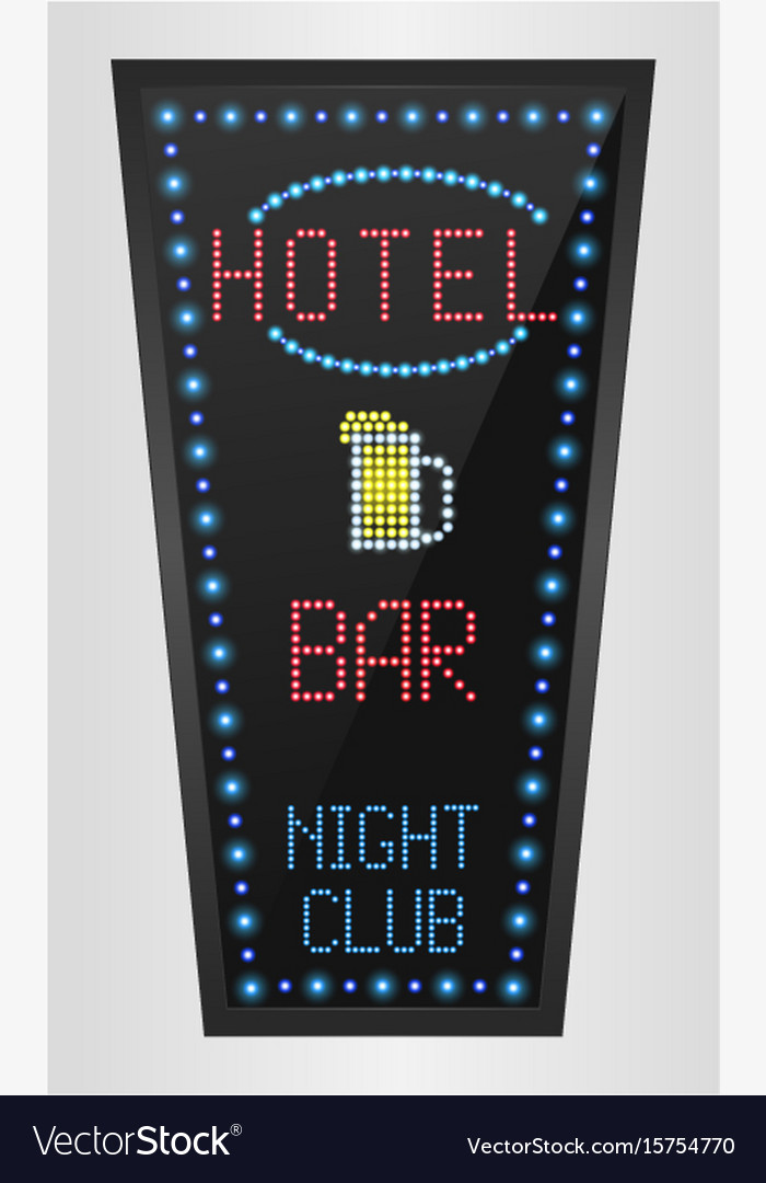 Retro sign with blue lights and the word hotel