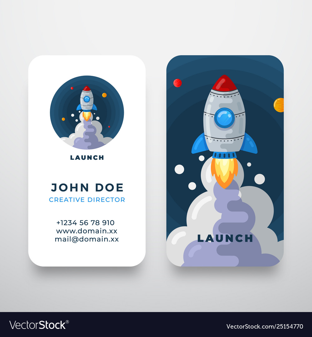 Rocket abstract logo and business card