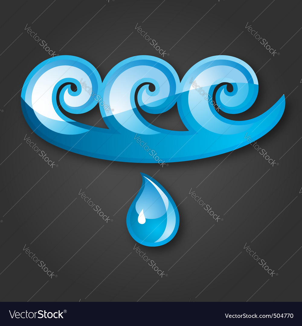 Sign of water bluegray background 10 eps