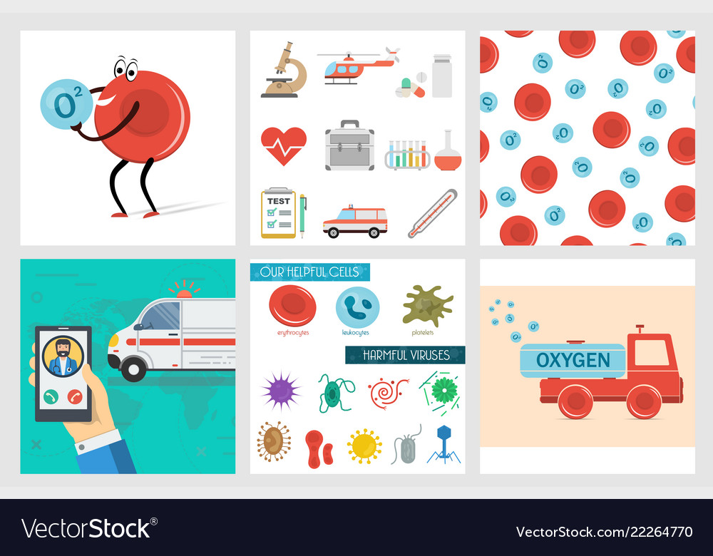 Six square medical banners in flat style