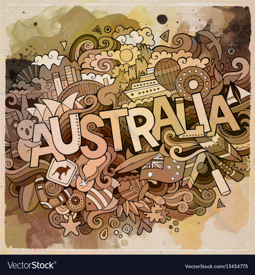 Australia hand lettering and doodles elements