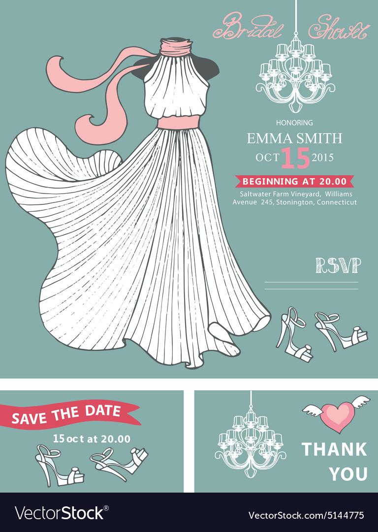 Bridal shower invitation templateBridal dress Vector Image