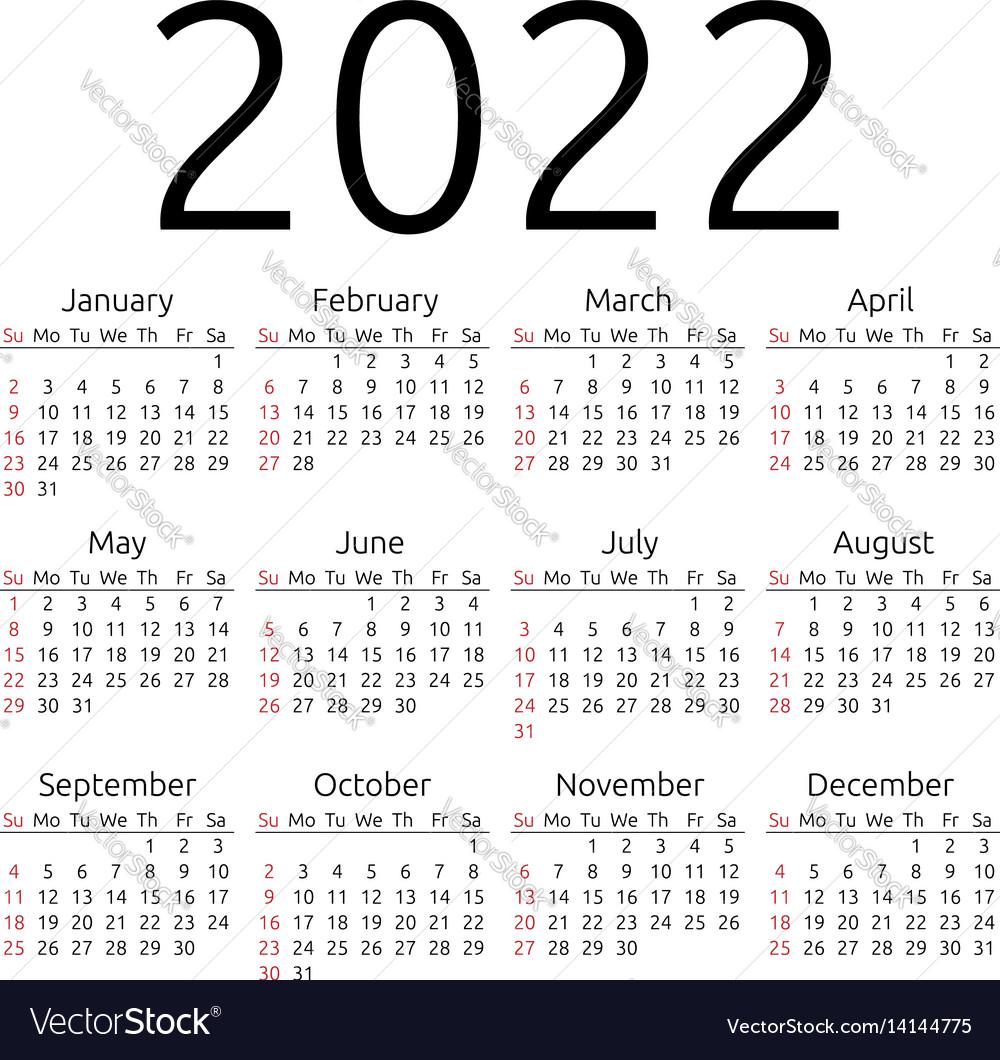 Calendar 2022 sunday Royalty Free Vector Image