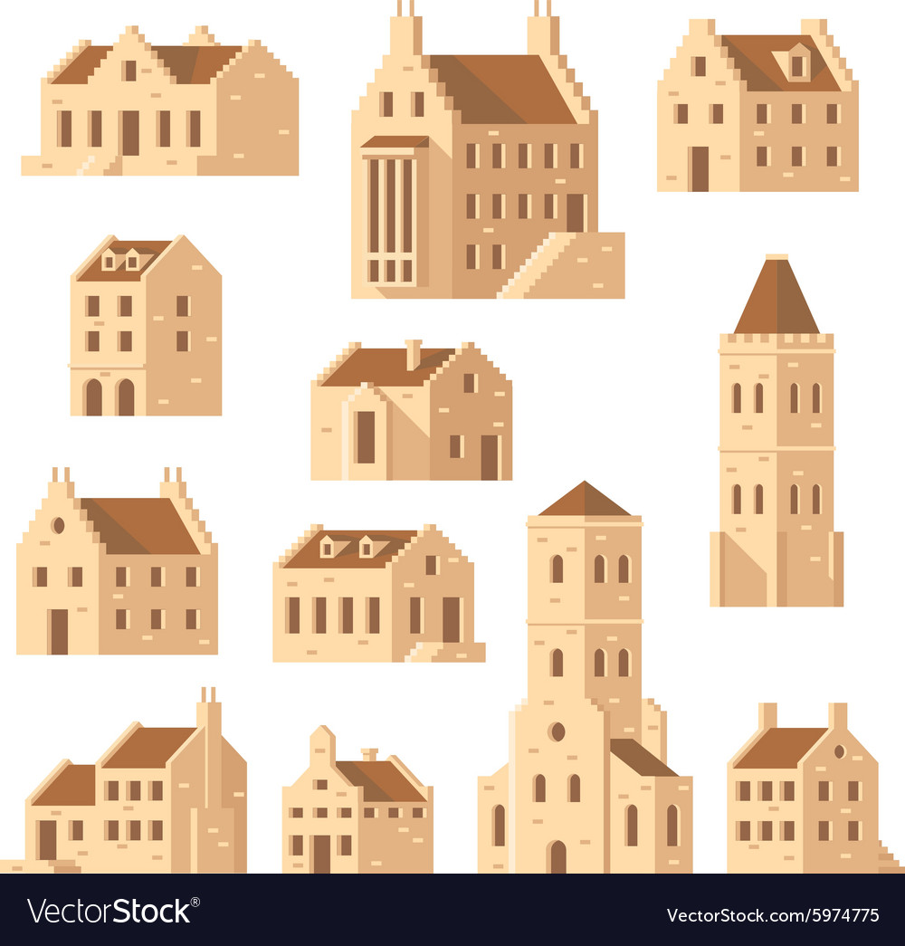 Europe buildings set flat design