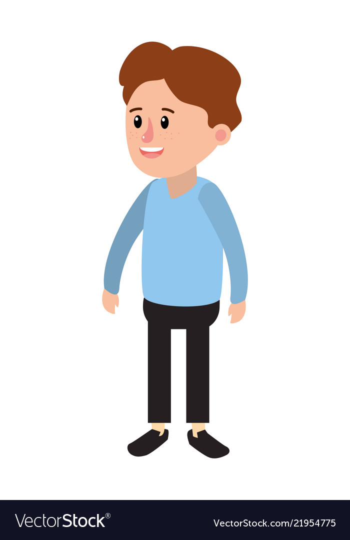 Happy Boy With Casual Clothes And Hairstyle Vector Image
