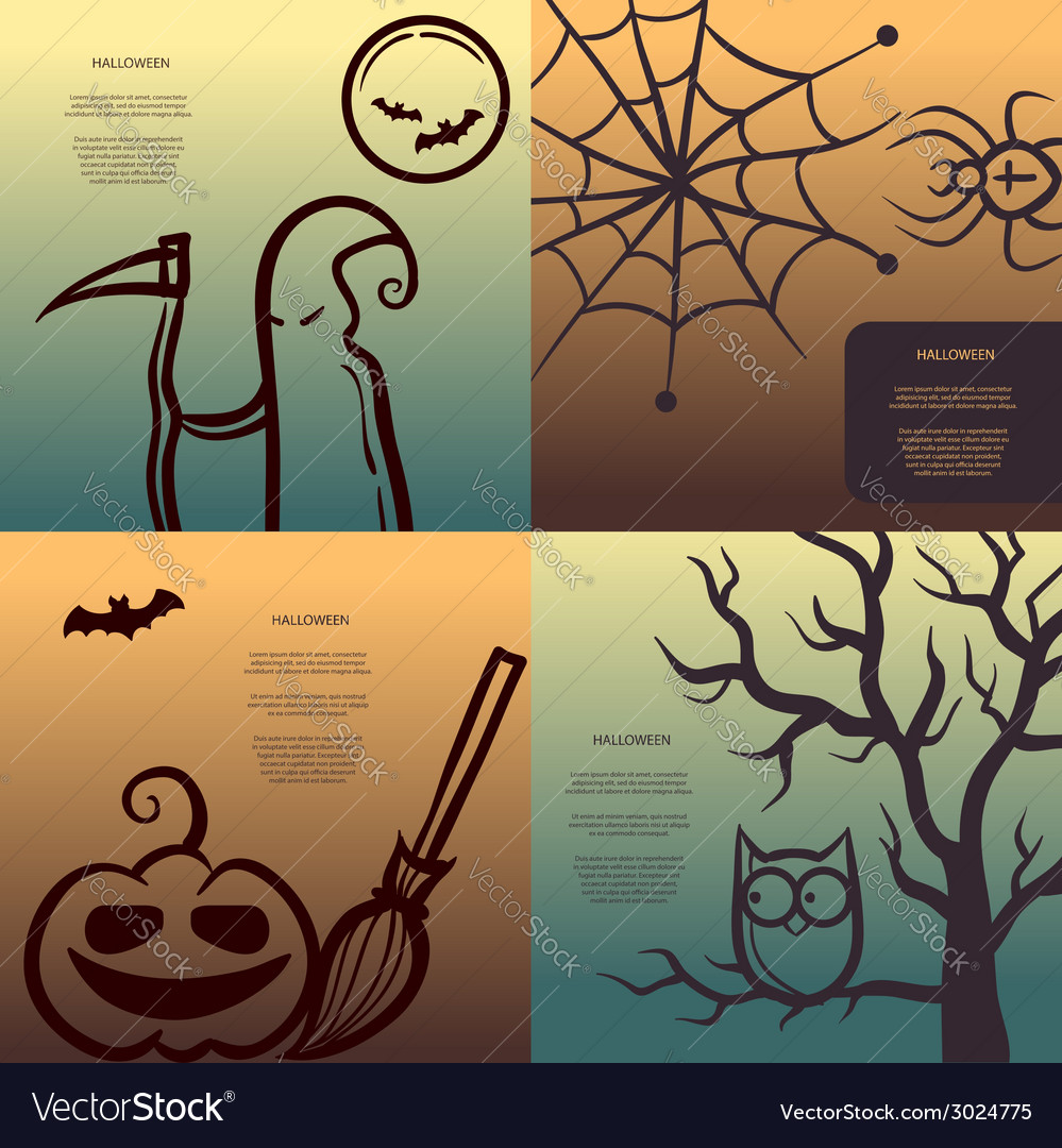 Retro graphical posters with Halloween elements