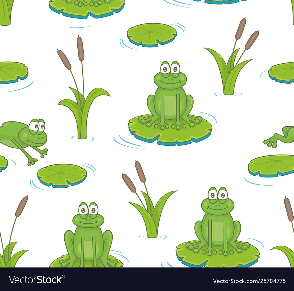 Seamless pattern with reeds and toads