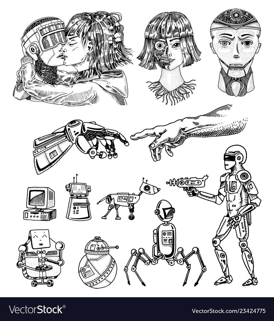 Set of artificial intelligence concept robots