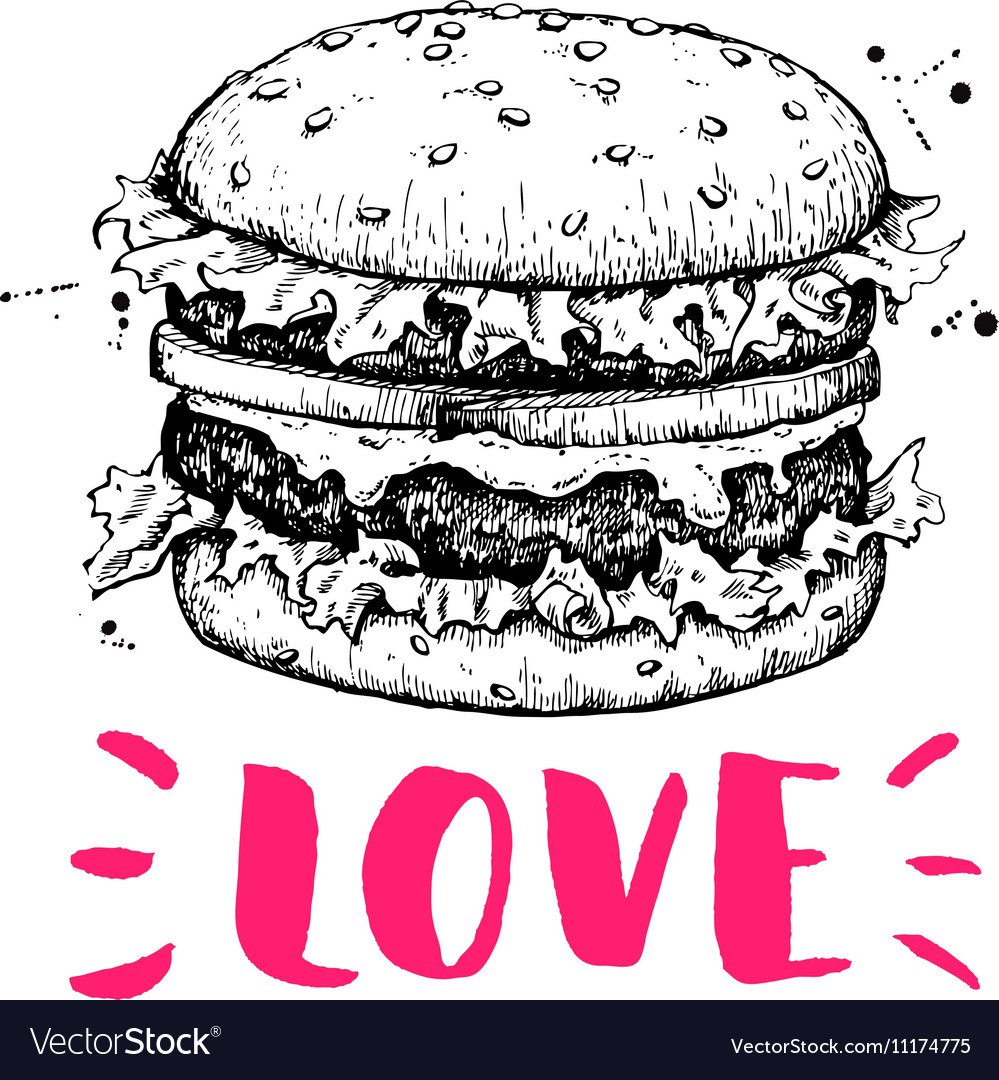 Vintage burger label Hand drawn monochrome