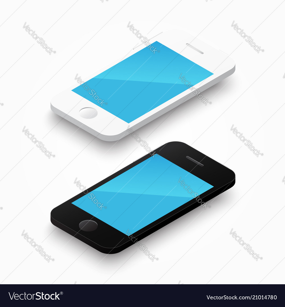 3d white and black colour smartphone