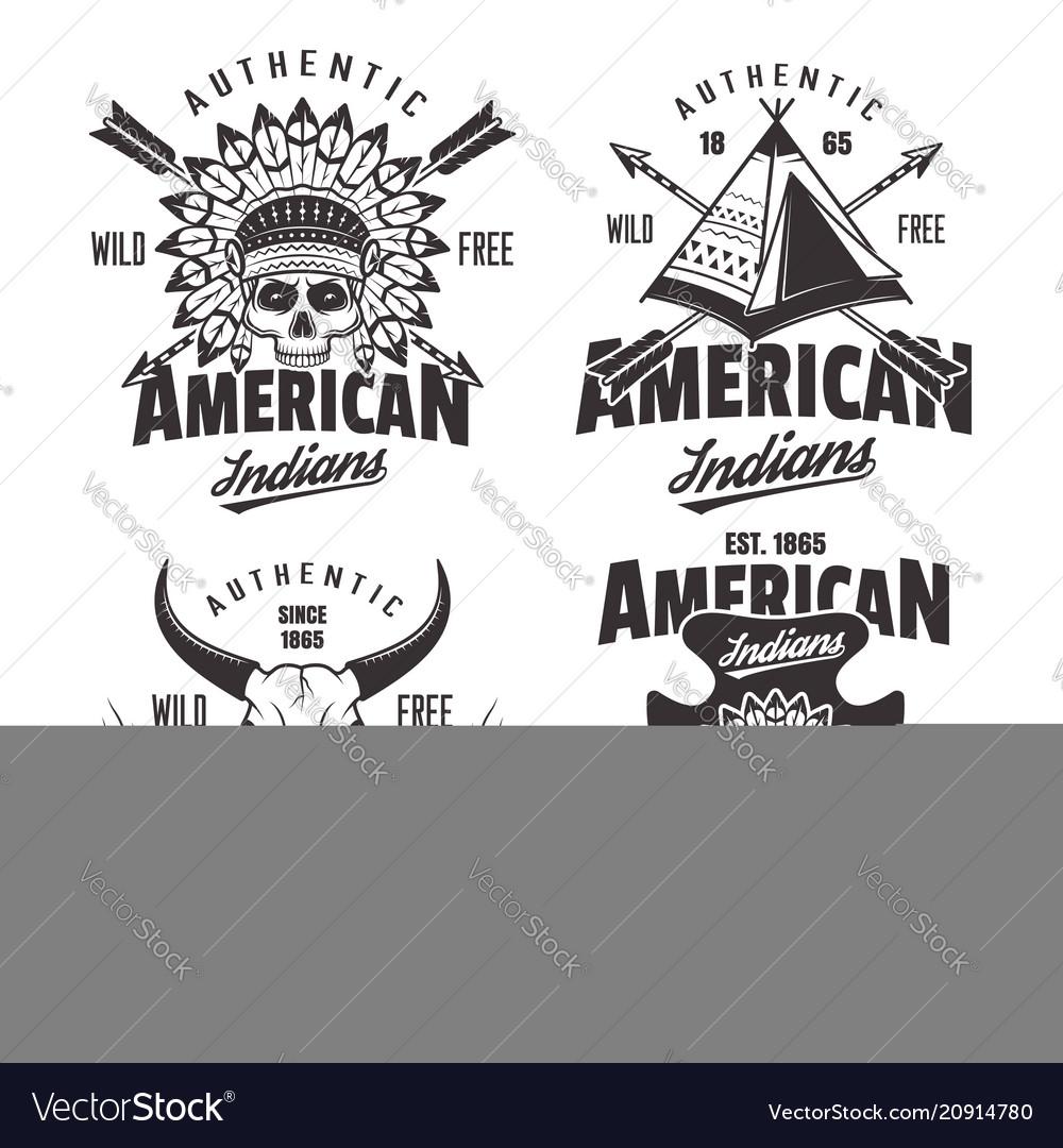 American indians set of four vintage emblems vector image