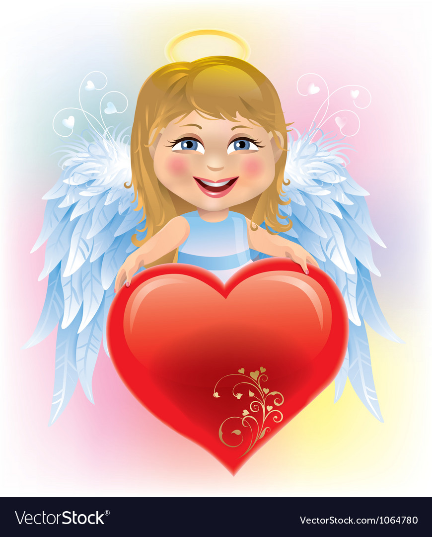 Angel little girl and Valentines Day heart