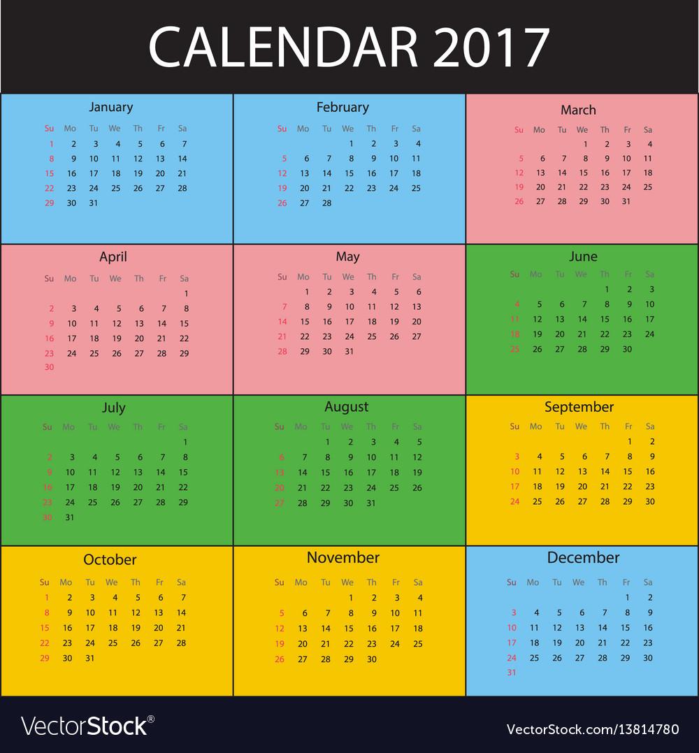 Calendar for 2017 year week starts sunday
