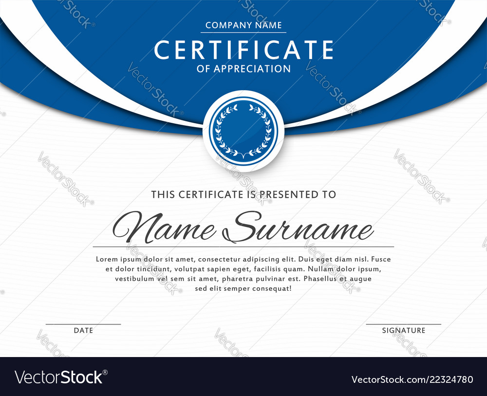 Certificate template in elegant blue color vector