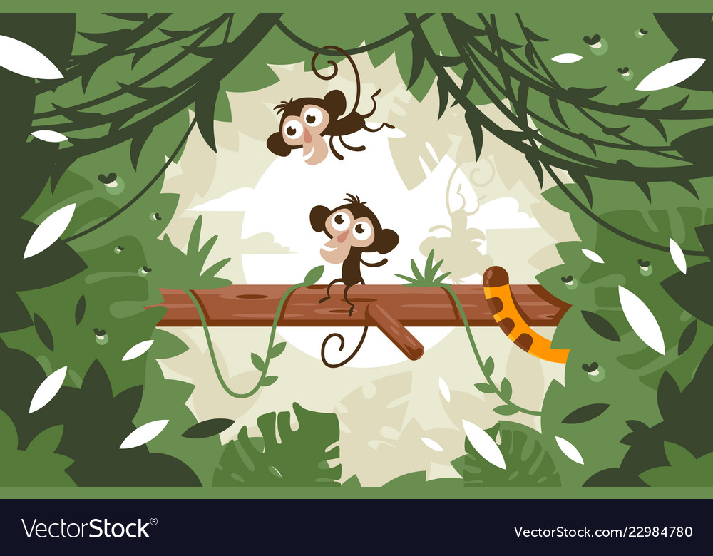 Cute monkeys on tree among vegetation and tail of