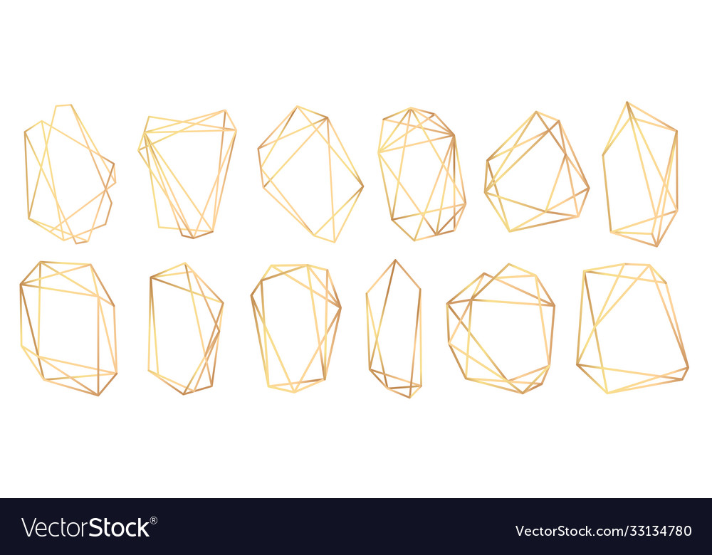 Geometric frames polyhedrons abstract gold frames