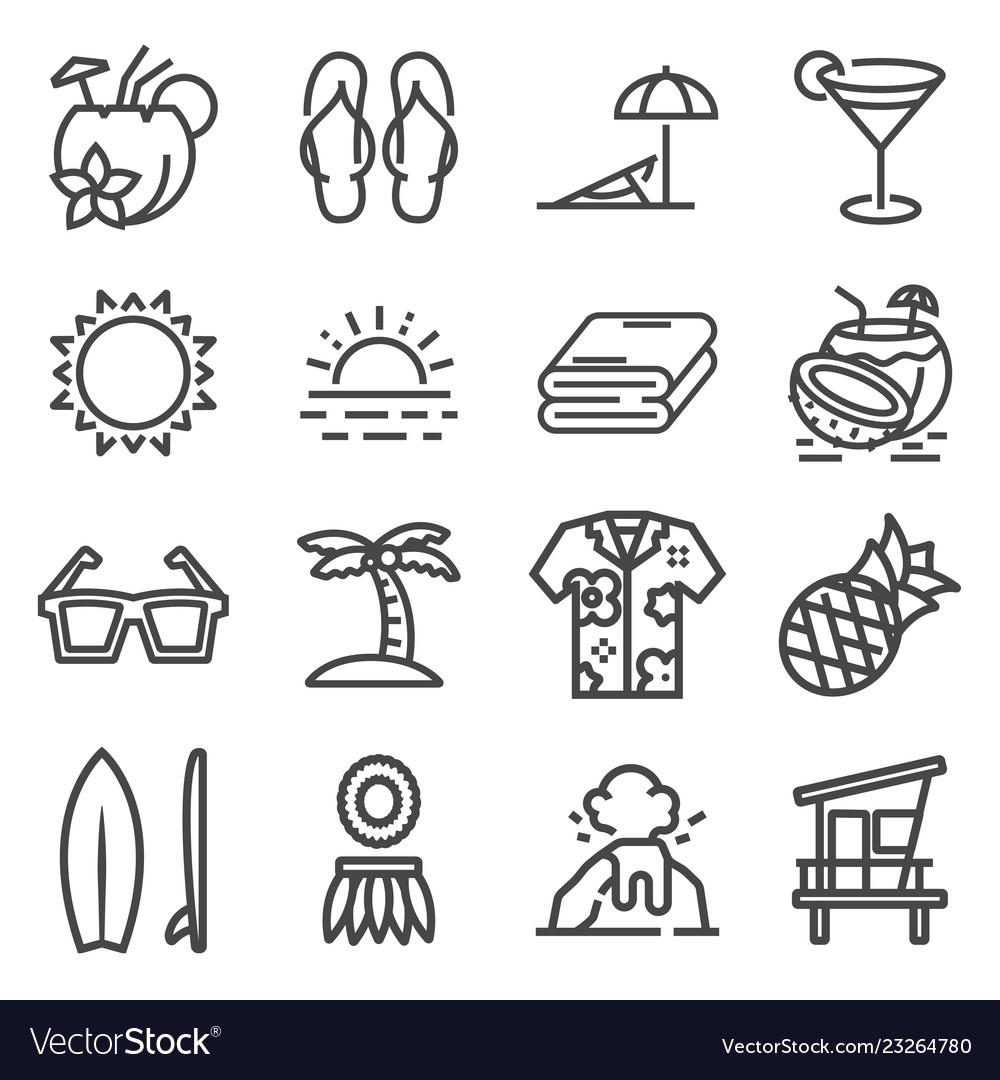 Gray tropical summer hawaii icon set