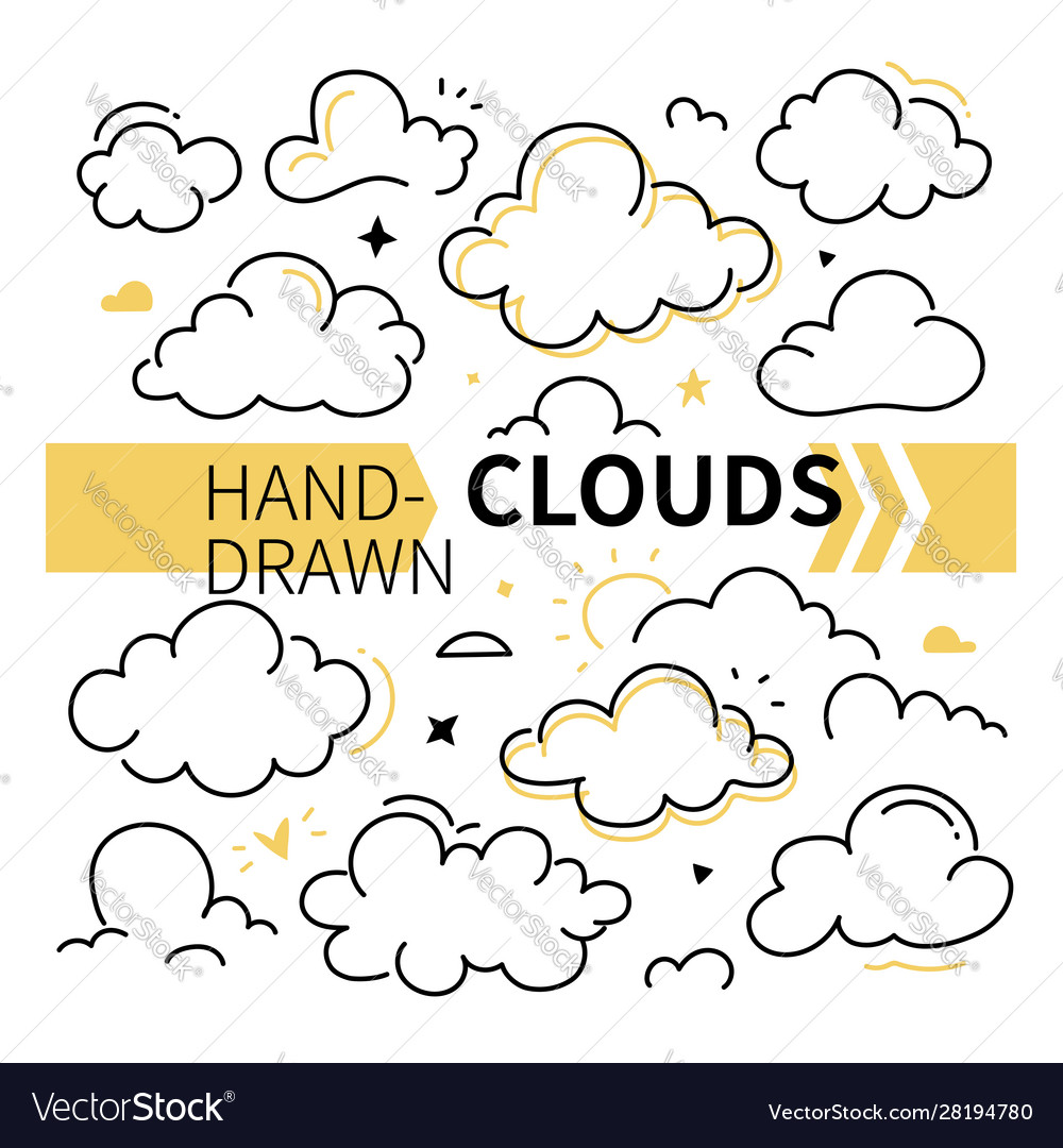 Hand-drawn clouds collection - set