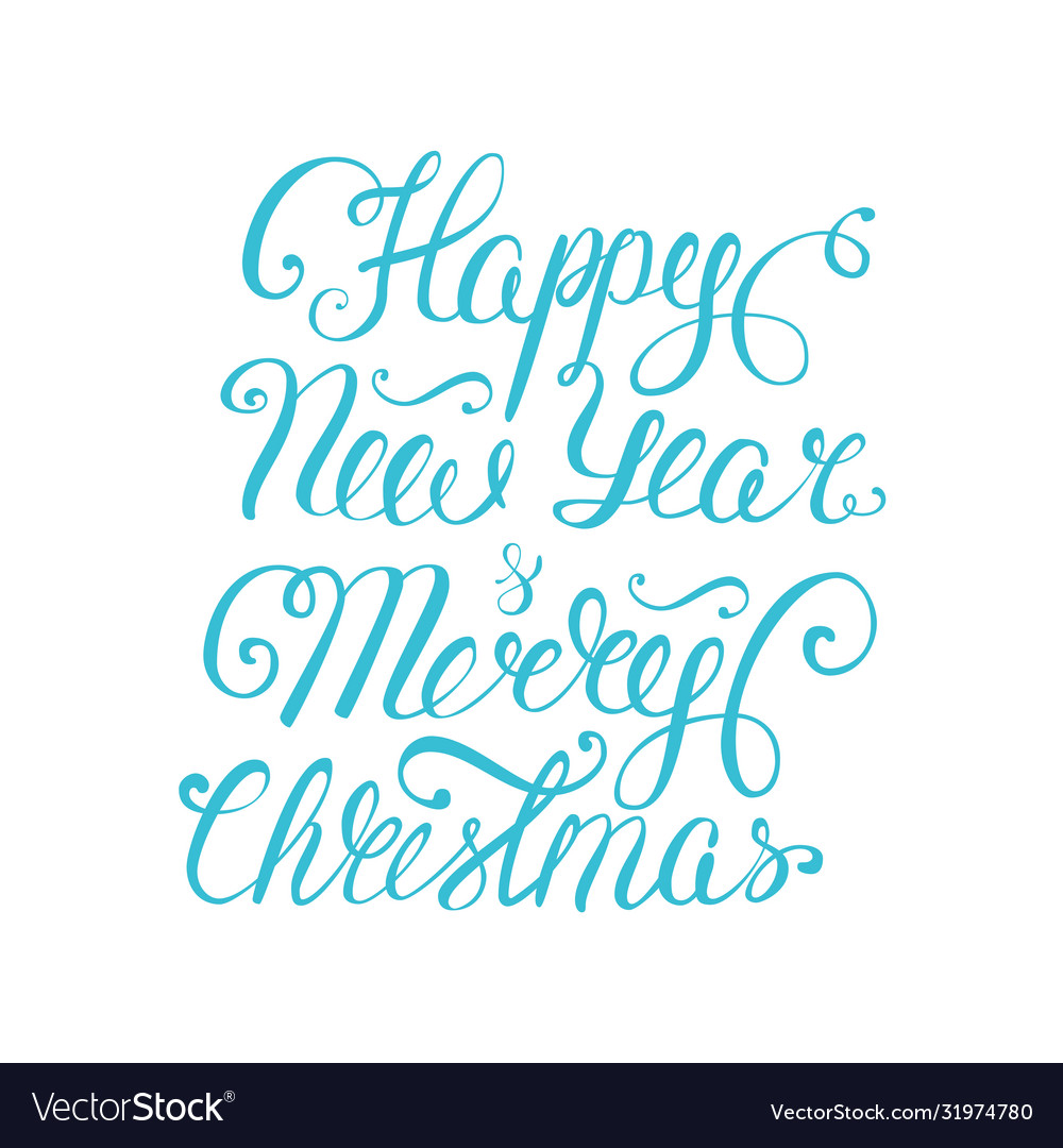 Happy new year and merry christmas lettering