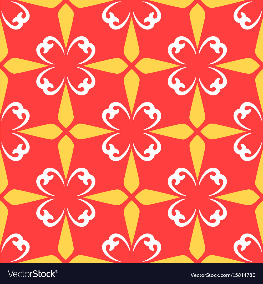 Red arabic ornamental ceramic tile vector image