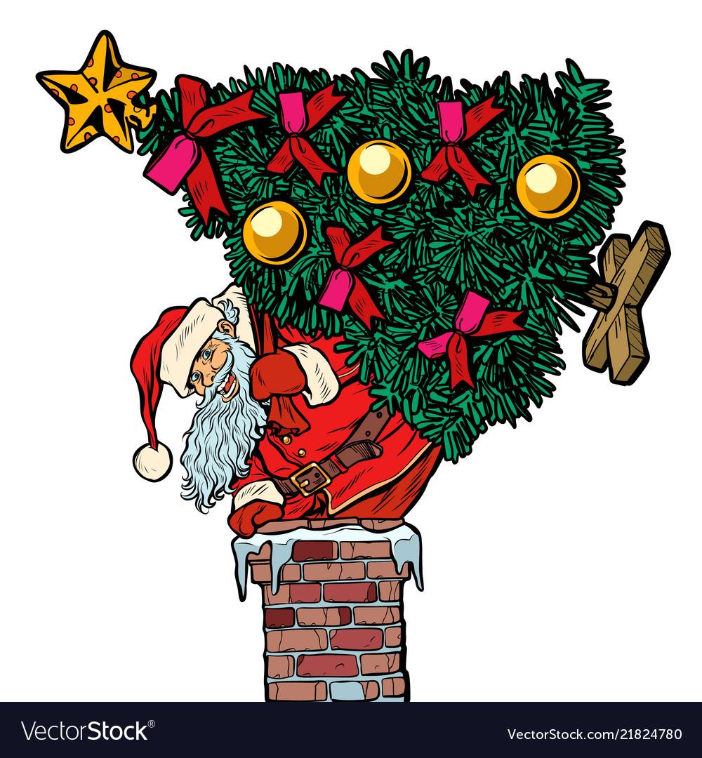 Santa claus with a christmas tree climbs