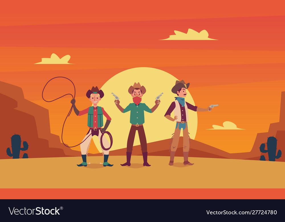 Three cowboys cartoon characters on wild west