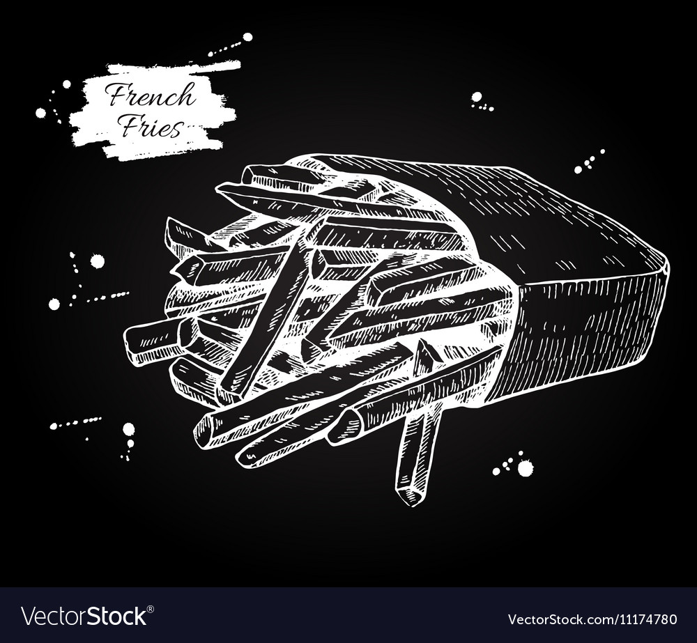 Vintage French Fries Chalkboard Drawing Vector Image
