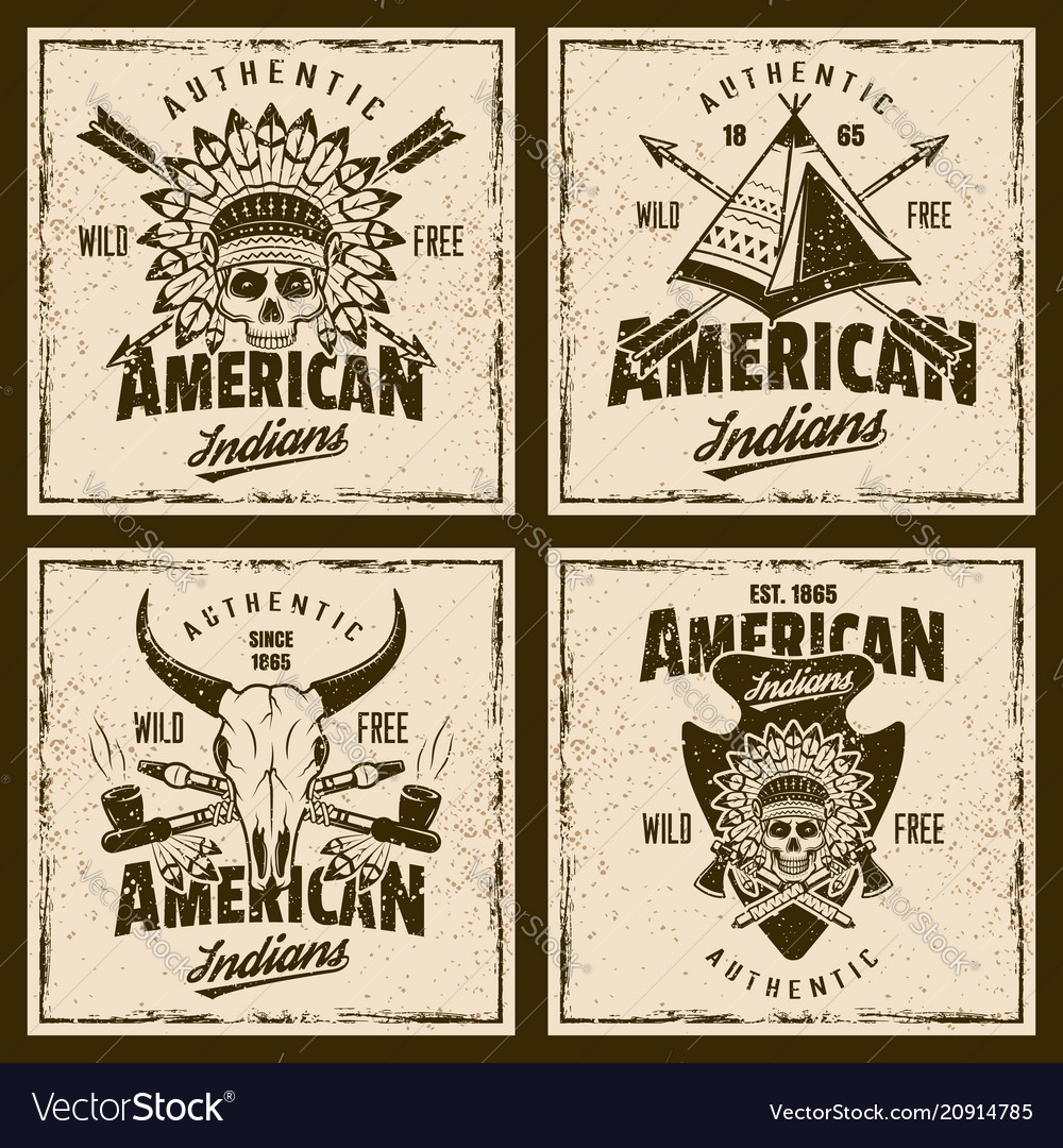 American indians colored emblems or t-shirt prints