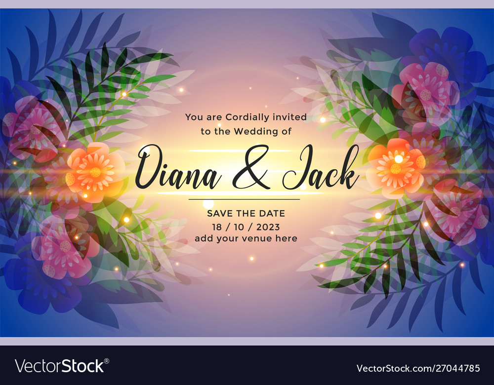 Awesome Wedding Invitation Card Design Royalty Free Vector