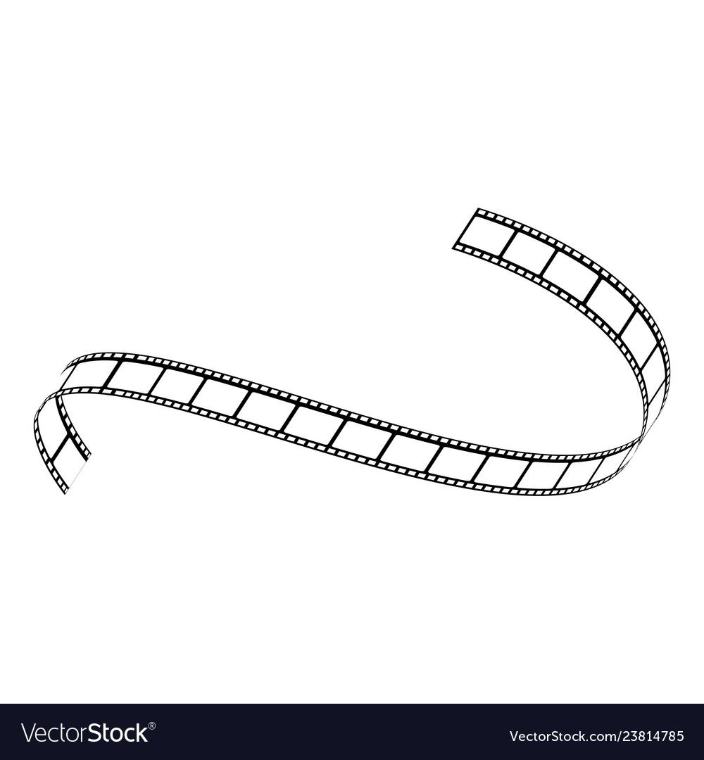 Curved film strip movie tape black white