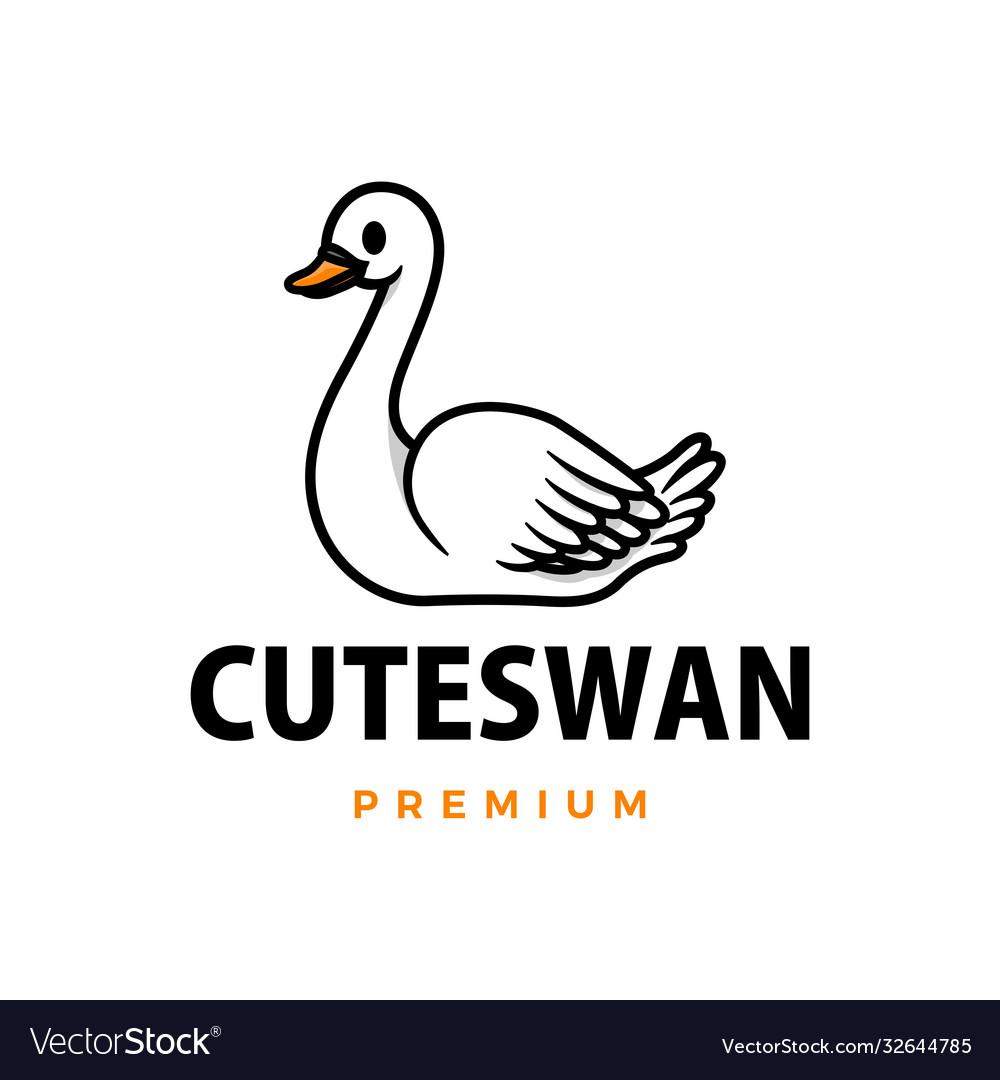 Cute swan cartoon logo icon